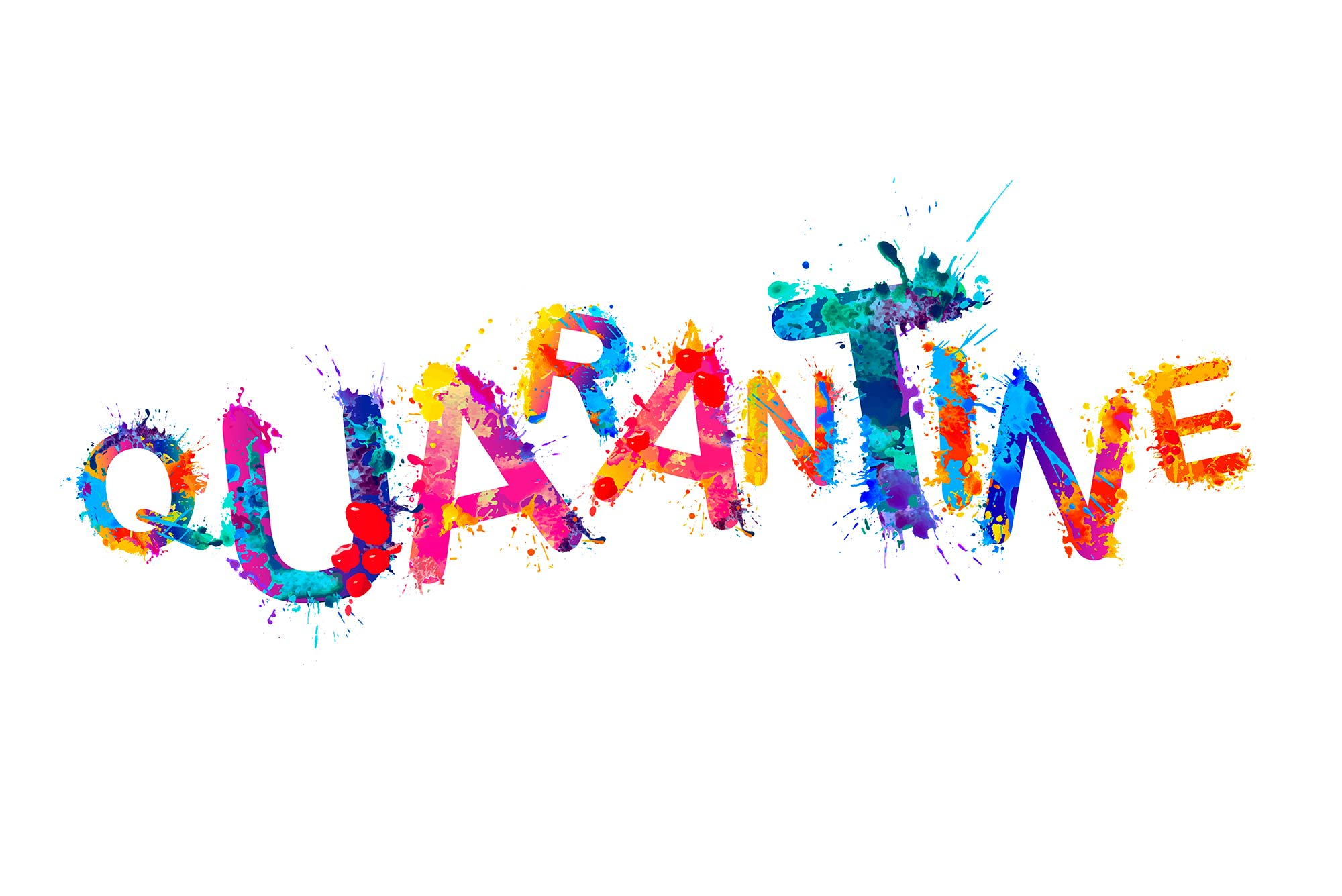 Illustrated type-treatment of the word 'Quarantine' in letters made of paint splatters