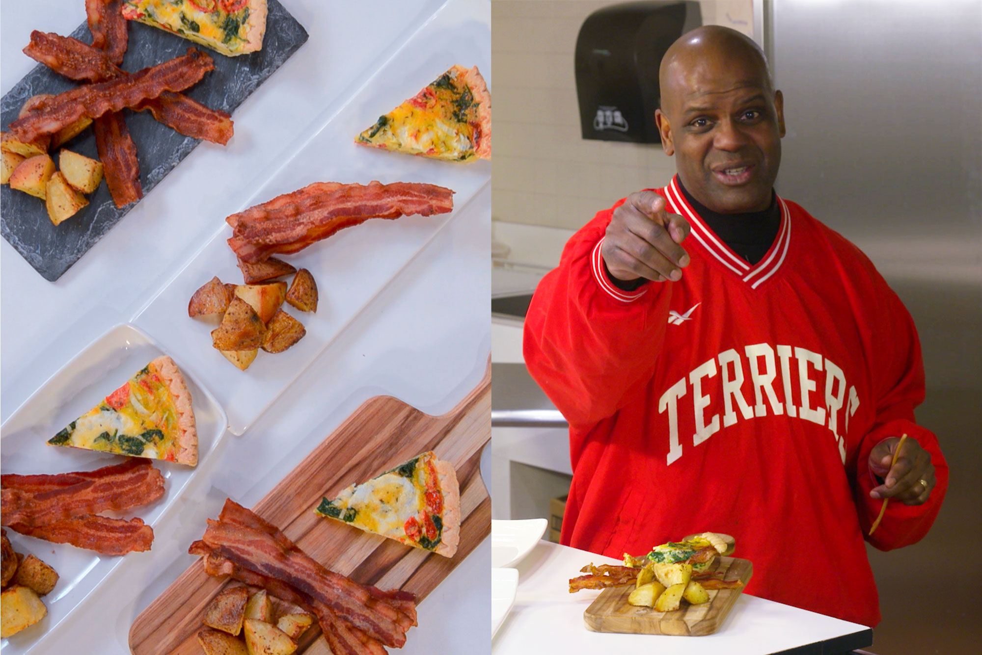 "Composite image: on the left, an aerial view of plates of roasted tomato and leek tart, salt and pepper Yukon Gold potatoes, and applewood smoked bacon, made by BU chef and campus culinary director Christopher Bee; on the right, Kenneth Elmore, Associate provost & dean of students is seen in a red jacket with ""Terriers"" in white, pointing towards the camera with a smile on his face. A plate of food is set before him."