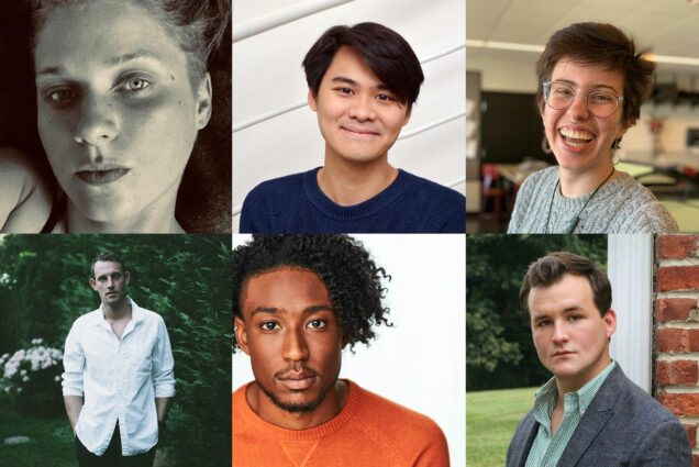 Composite image of the 2020 Kahn Awards winners; clockwise from left, top: Diana Walsh, Tak-Cheung Hui, Saskia Martinez, Alex Stern, Nicholas Walker, Eric Carey.