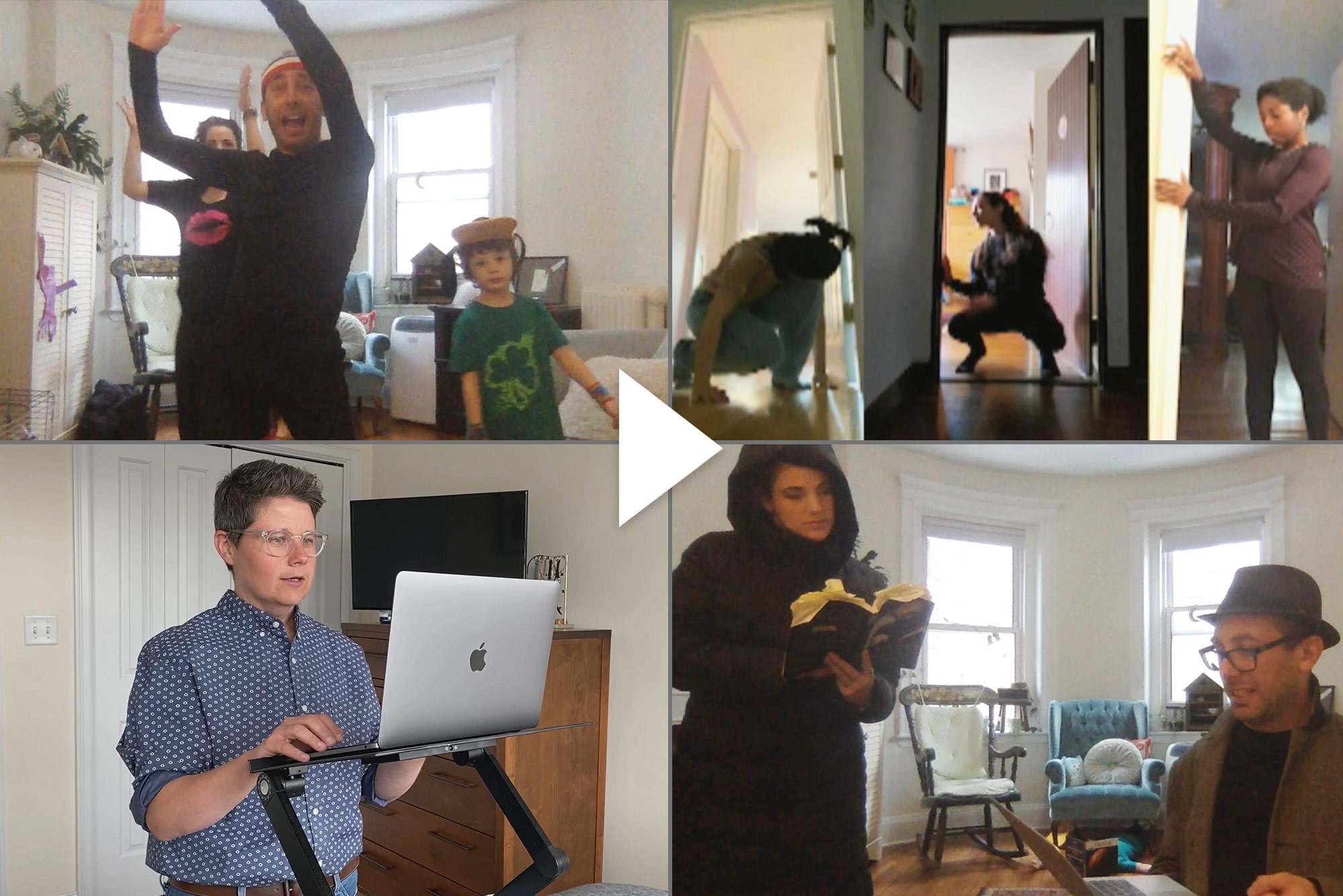 Composite image of stills from videos of BU classes being taught remote. In the bottom left, Maura Smith, a College of Communication master lecturer in film, is seen standing at a standing desk. In the top left and bottom right, Yo-EL Cassell, a College of Fine Arts assistant professor of movement, reads from a computer and demonstrates movements. In the top right, students for Yo-EL's class are seen moving in door frames.