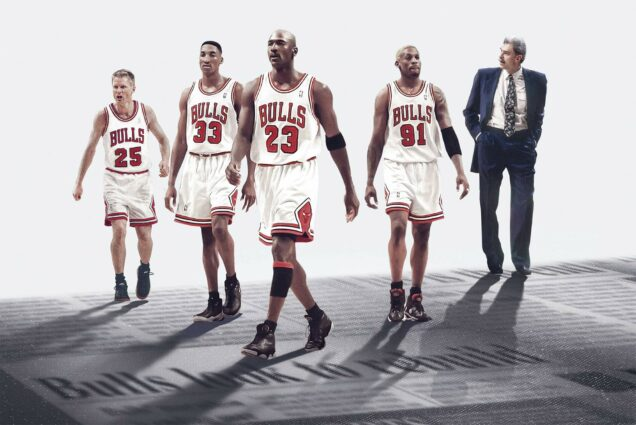 Series poster for The Last Dance, ESPN's sports documentary mini-series about the career of Michael Jordan (pictured middle). Bulls players and a coach are shown around him.