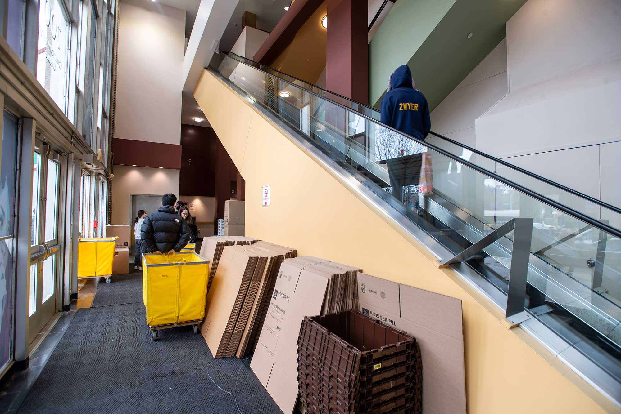 Lobby of Warren Towers during student move out