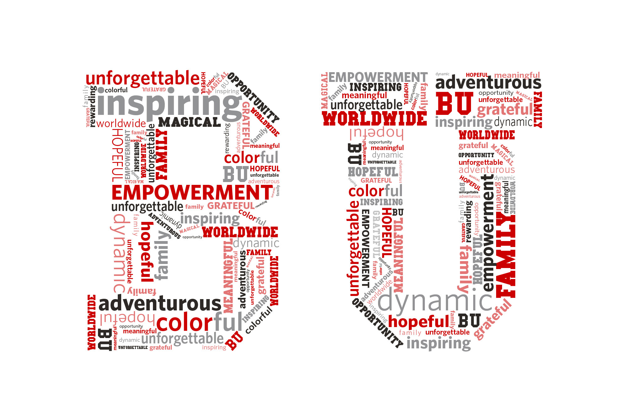 Word splash that forms the letters BU using the words inspiring, adventurous, empowerment, worldwide, magical, hopeful, colorful, dynamic, family, BU, unforgettable, grateful, inspiring, and opportunity in scarlet, light red, black and gray.