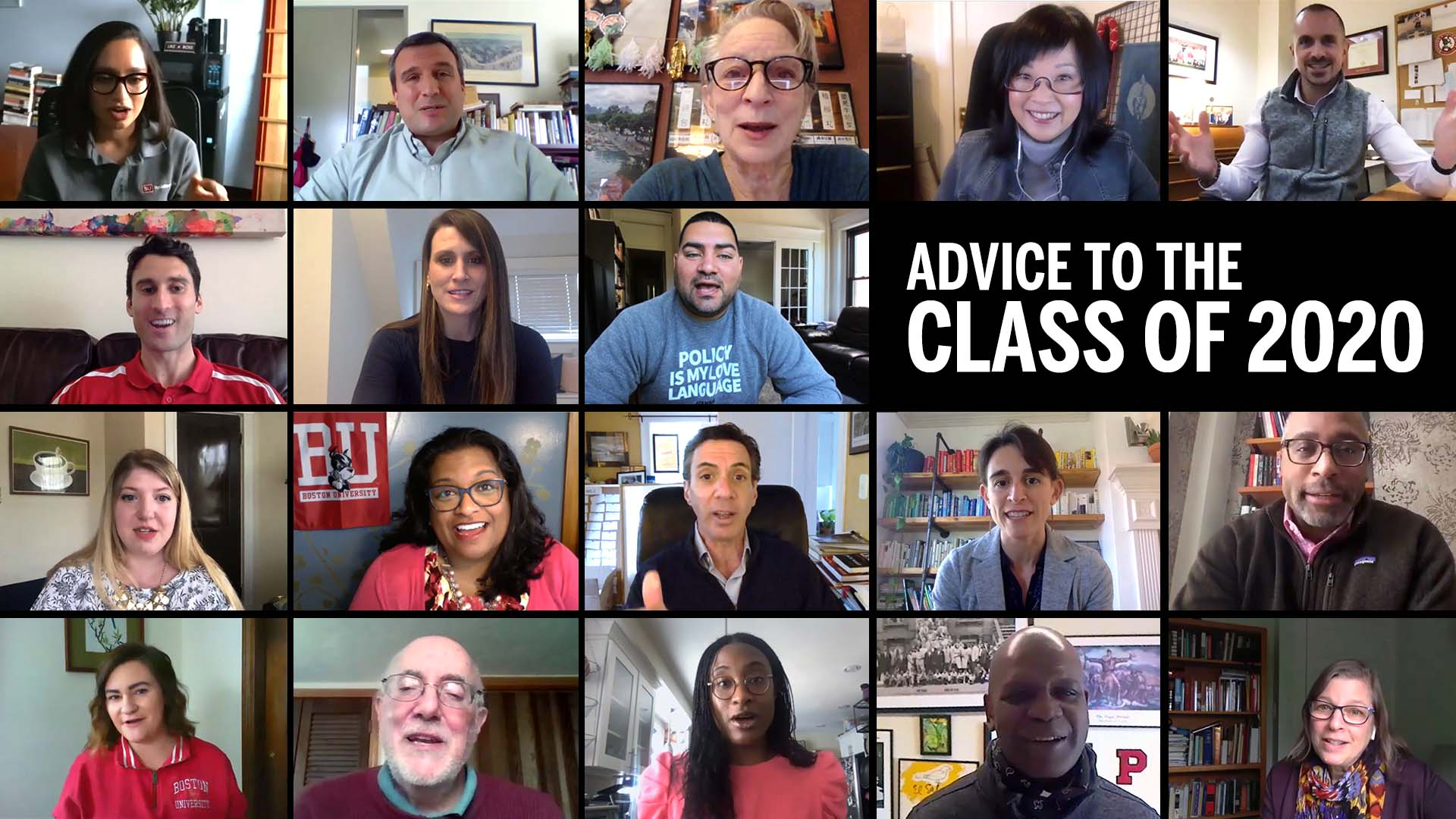 "A composite image of BU faculty and staff with text that reads ""Advice to the class of 2020"""
