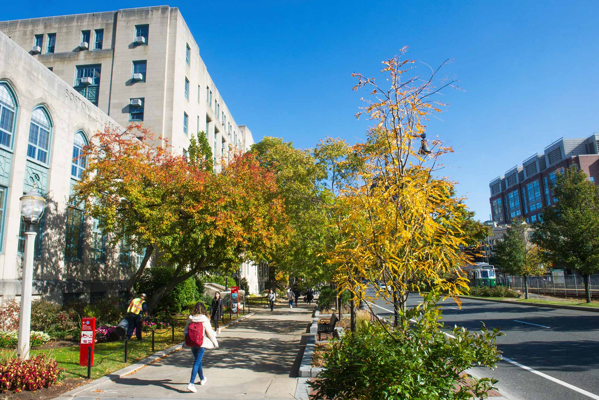A photo of Boston University's Charles River Campus during the fall semester