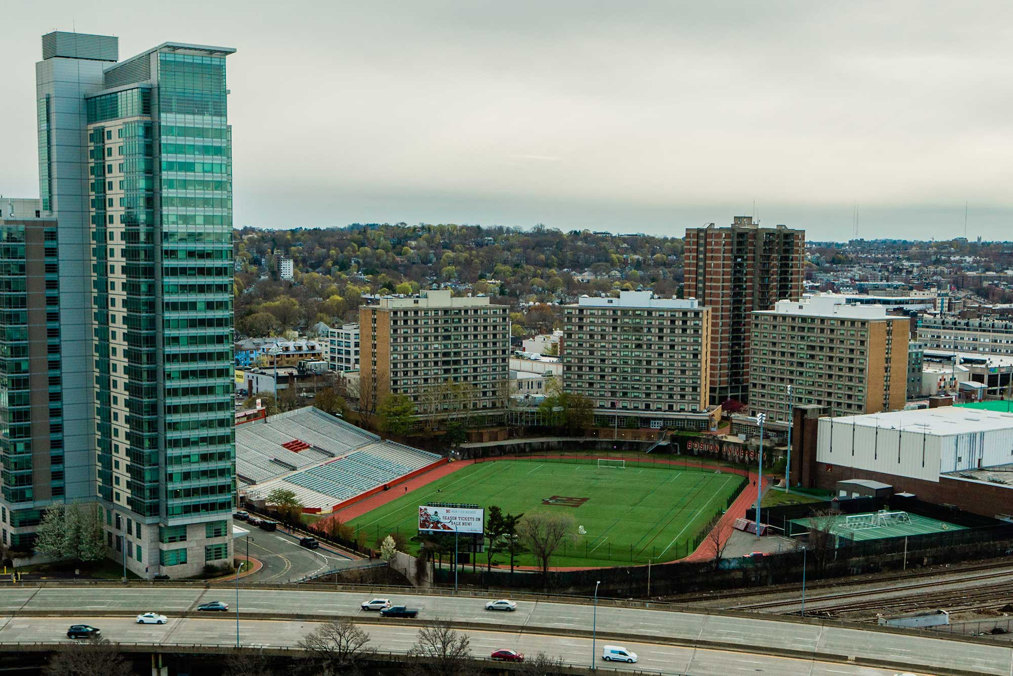 A photo of Nickerson Field, where BU Commencement is held, from above