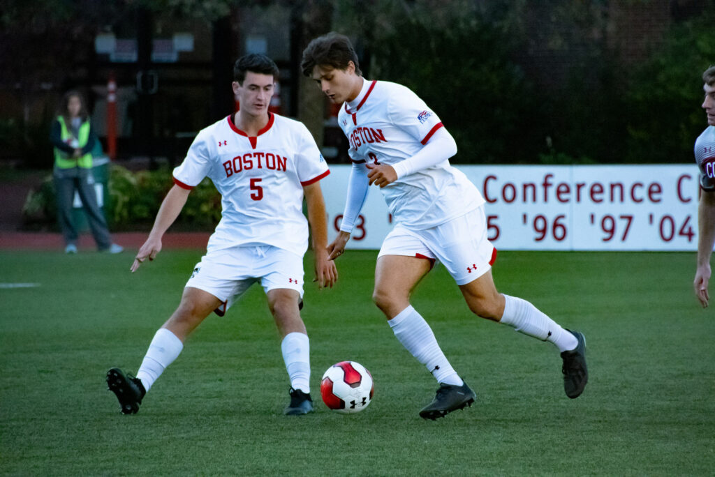Elias Lampis (CAS '21) and Griffin Roach (CAS '23) of Boston University's men's soccer team go in for the goal against Colgate at Nickerson Field on October 5th. Final Score was 2 to 1, marking a terrier victory.