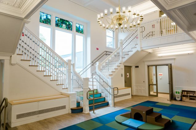 A photo of the interior of the new BU Children's Center