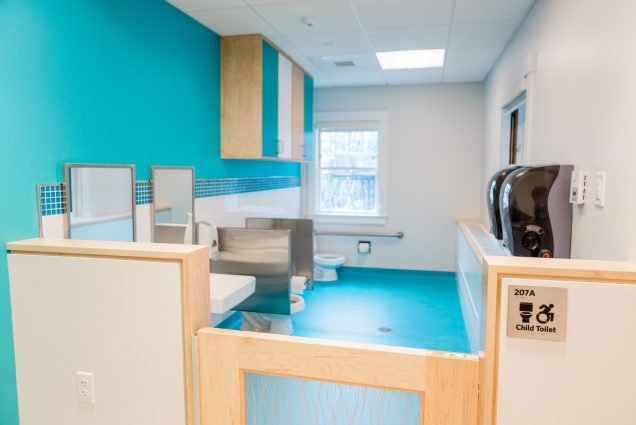 A photo of the bathroom at the new BU Children's Center