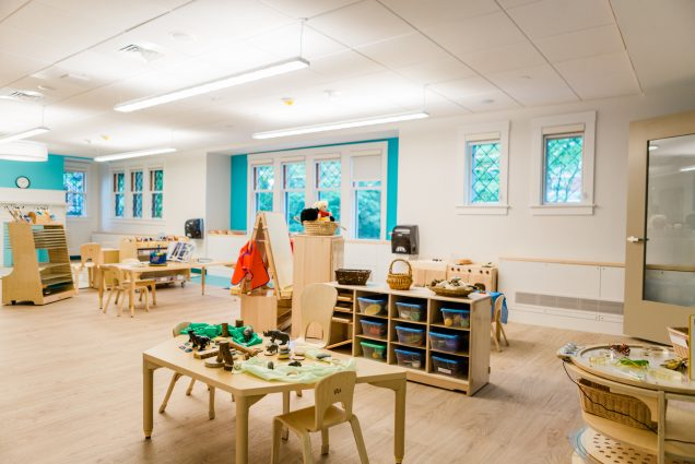 A photo of classroom space at the new BU Children's Center