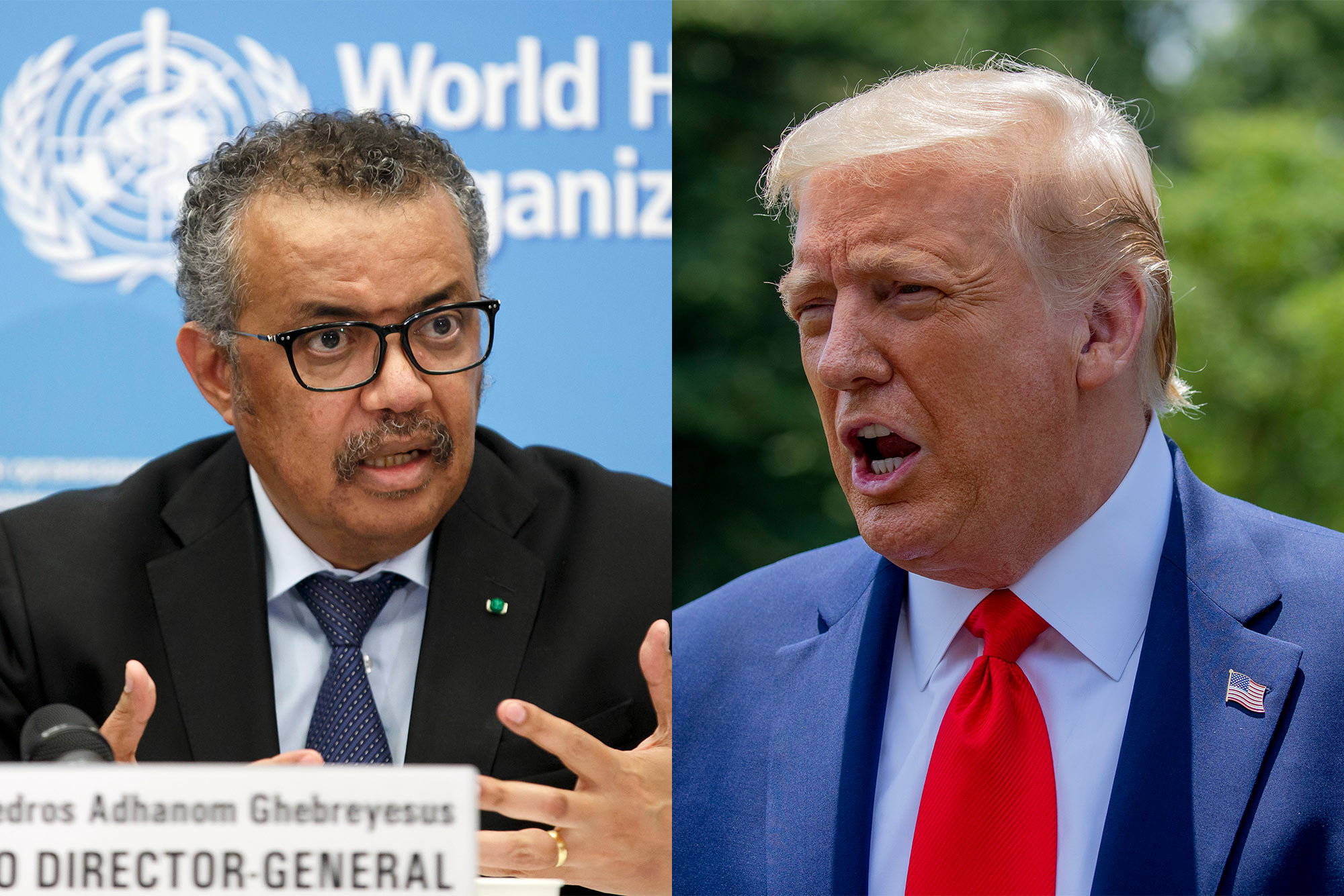 A composite image of the WHO Director-General Tedros Adhanom and U.S. President Donald Trump