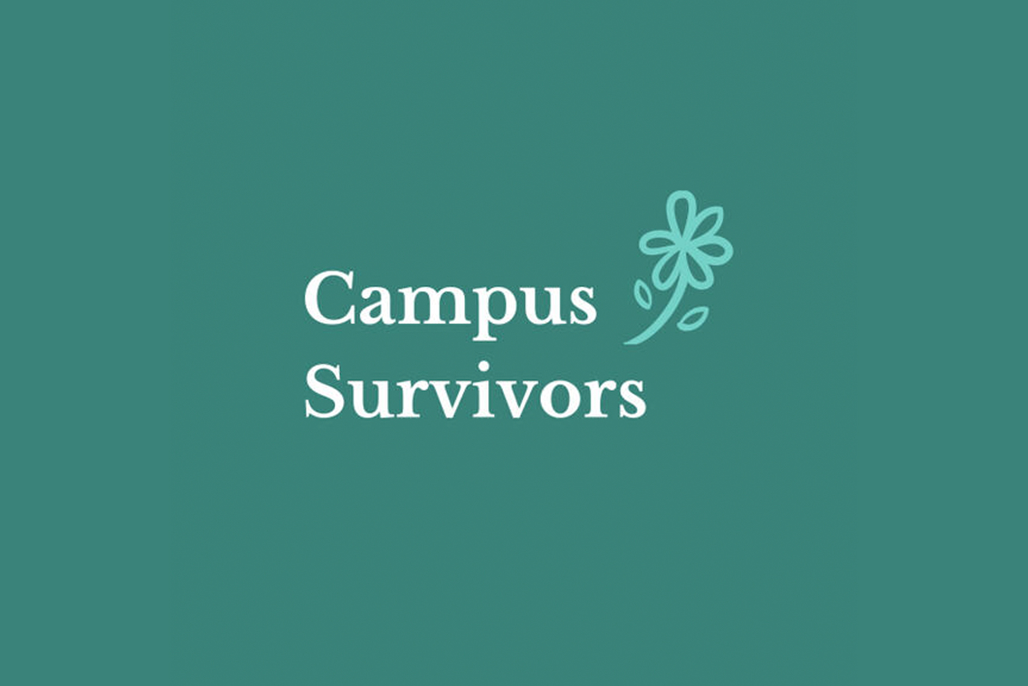 The logo for Campus Survivors, a safe place for survivors of assault, rape, or any kind of sexual harassment on Instagram, which has a light blue flower in the top right corner, on a greenish teal background.