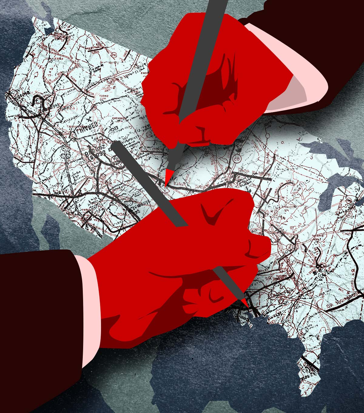 An illustrated, abstract rendering of gerrymandering. Two red hands holding red pens mark up a map of the US. Suit cuffs are around the hands, implying they are politicians.