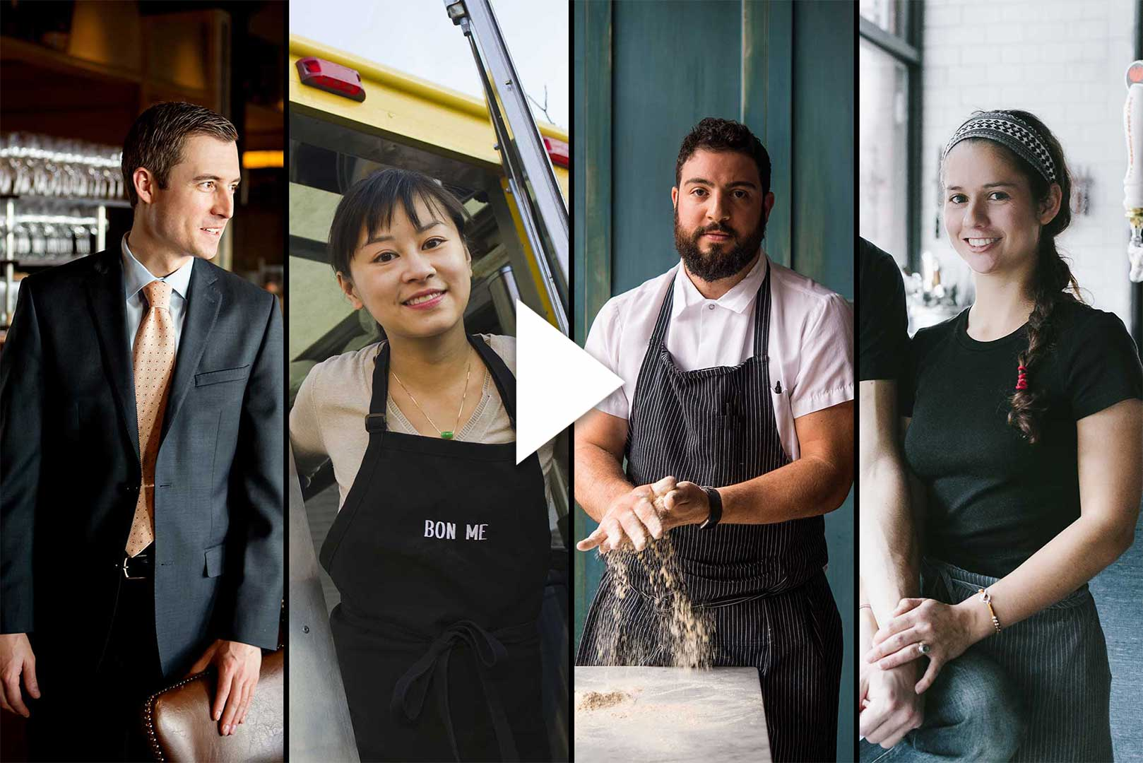 Composite image of Boston restauranteurs and alumni: Andrew Holden (SHA'04), Ali Fong (CAS'01), Michael Lombardi, and Fernanda Tapia (MET'09). Video play button is overlayed.