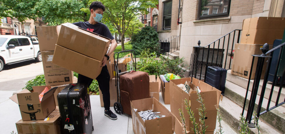 Jiaxin (Jack) Tong (COM'22) moves into his Bay State Rd residence on August 14. After his flights home to China got cancelled five times in the spring and early summer, Tong stayed on campus for the summer, taking classes.