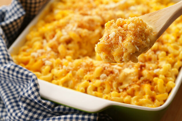 A photo of delicious looking baked macaroni and cheese
