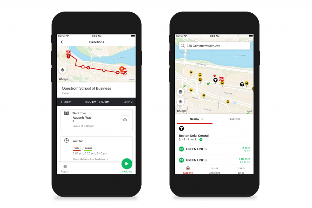 Two apple-style phones with screens from the new transportation app. On the left, you see a red route on a map giving walking directions to Questrom. On the right, you see map pins that show you BU shuttle or MBTA stops near you.