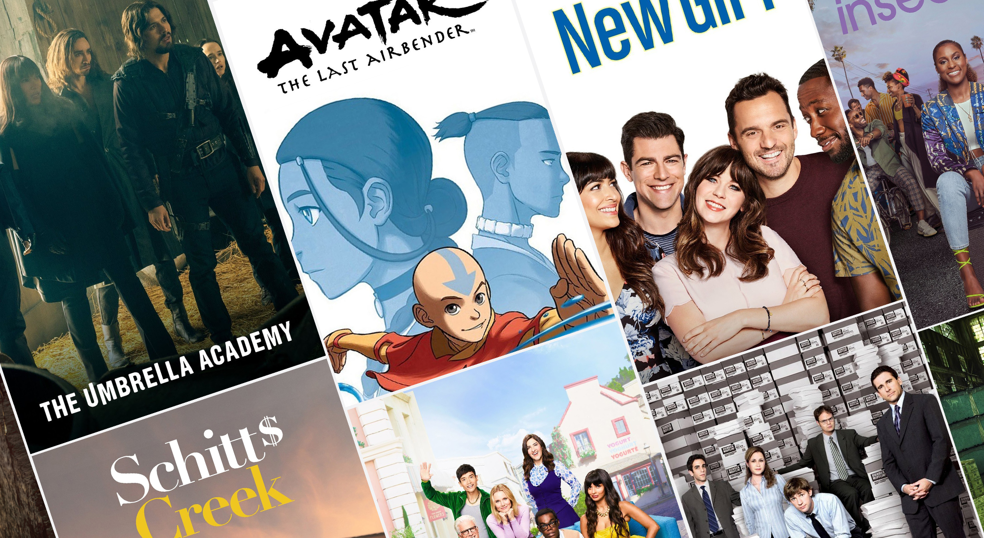 A composite photo of television show posters including for Avatar the Last Air Bender, The Office, Insecure, New Girl, and Umbrella Academy