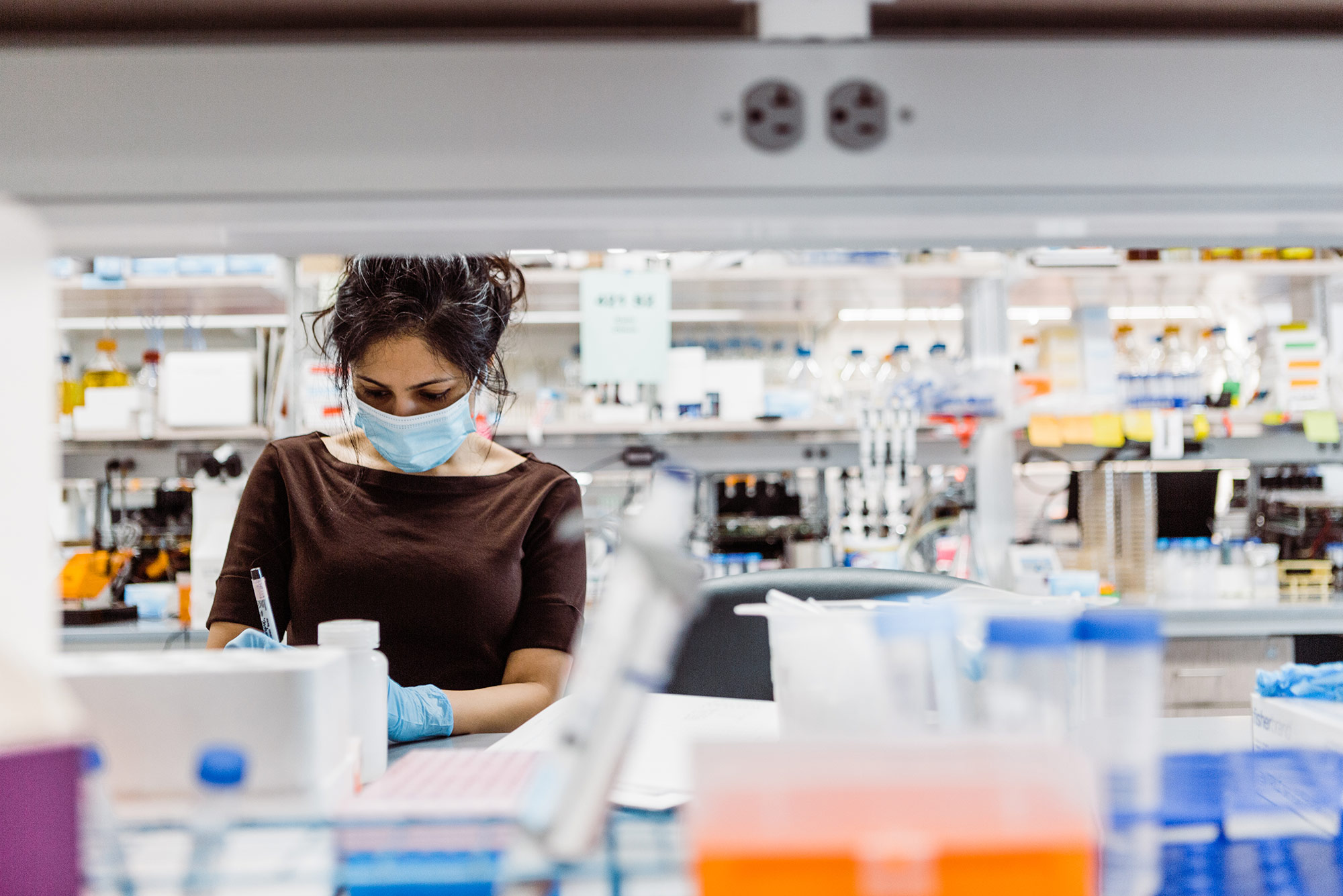Photo of a researcher with a blue mask and gloves working on the 4th Floor lab of Kilachand Center during Covid-19 pandemic. The photo is framed by the shelves on top of the desks, the foreground is blurred.