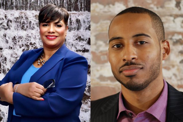 Composite image of headshots of two new trustees, Antoinette (Tonie) Leatherberry (ENG'85) and Jonathan Priester (COM'10).