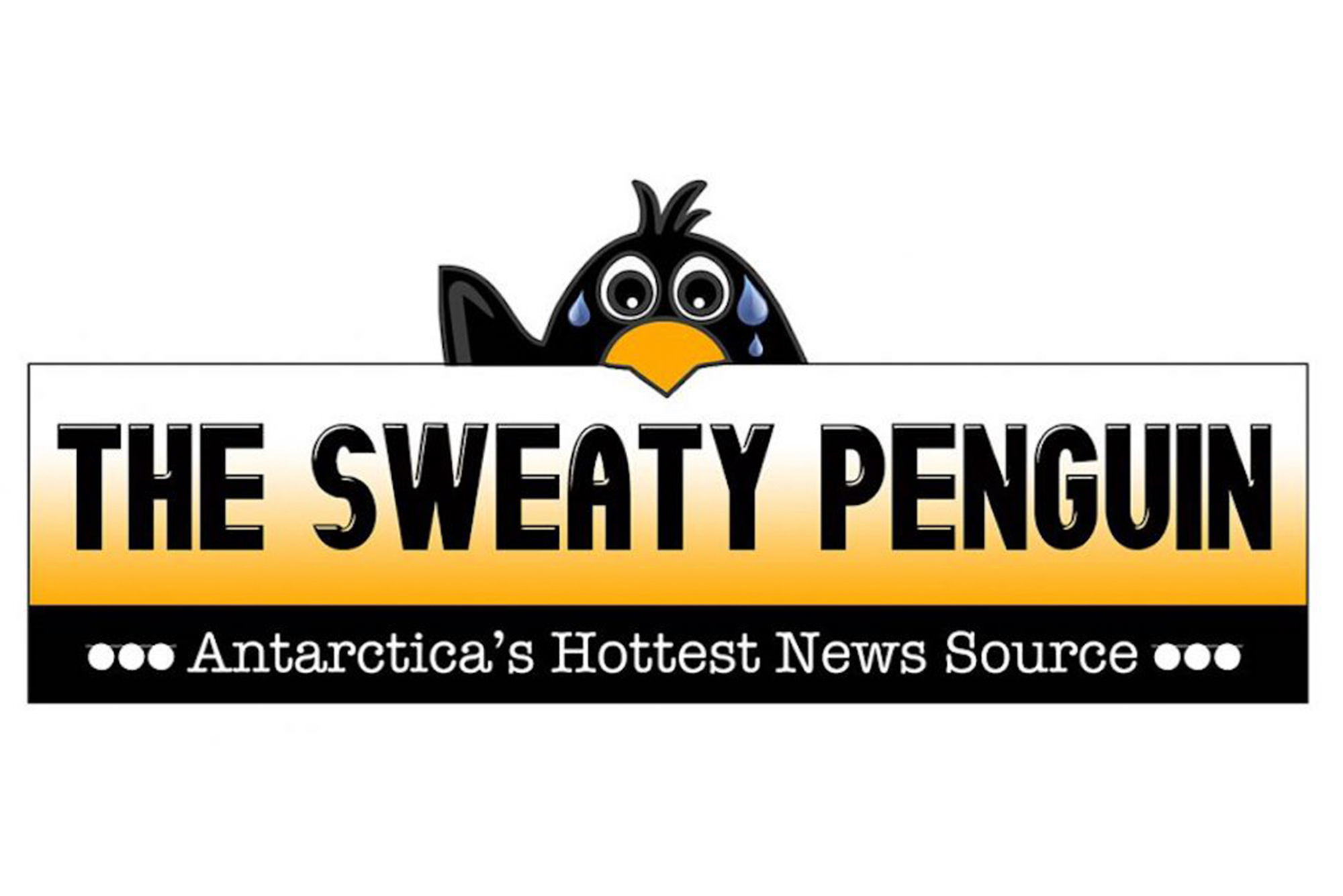 "A graphic that shows a penguin waving. Text reads ""The Sweaty Penguin. Antarctica's Hottest News Source"""