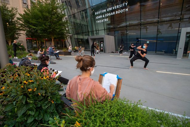 Photo taken alongside the Booth Theater, as Yo-EL Cassell's movement students from CFA make for the perfect models for Dana Clancy's SVA students September 16. Students in masks are seen drawing the foreground.