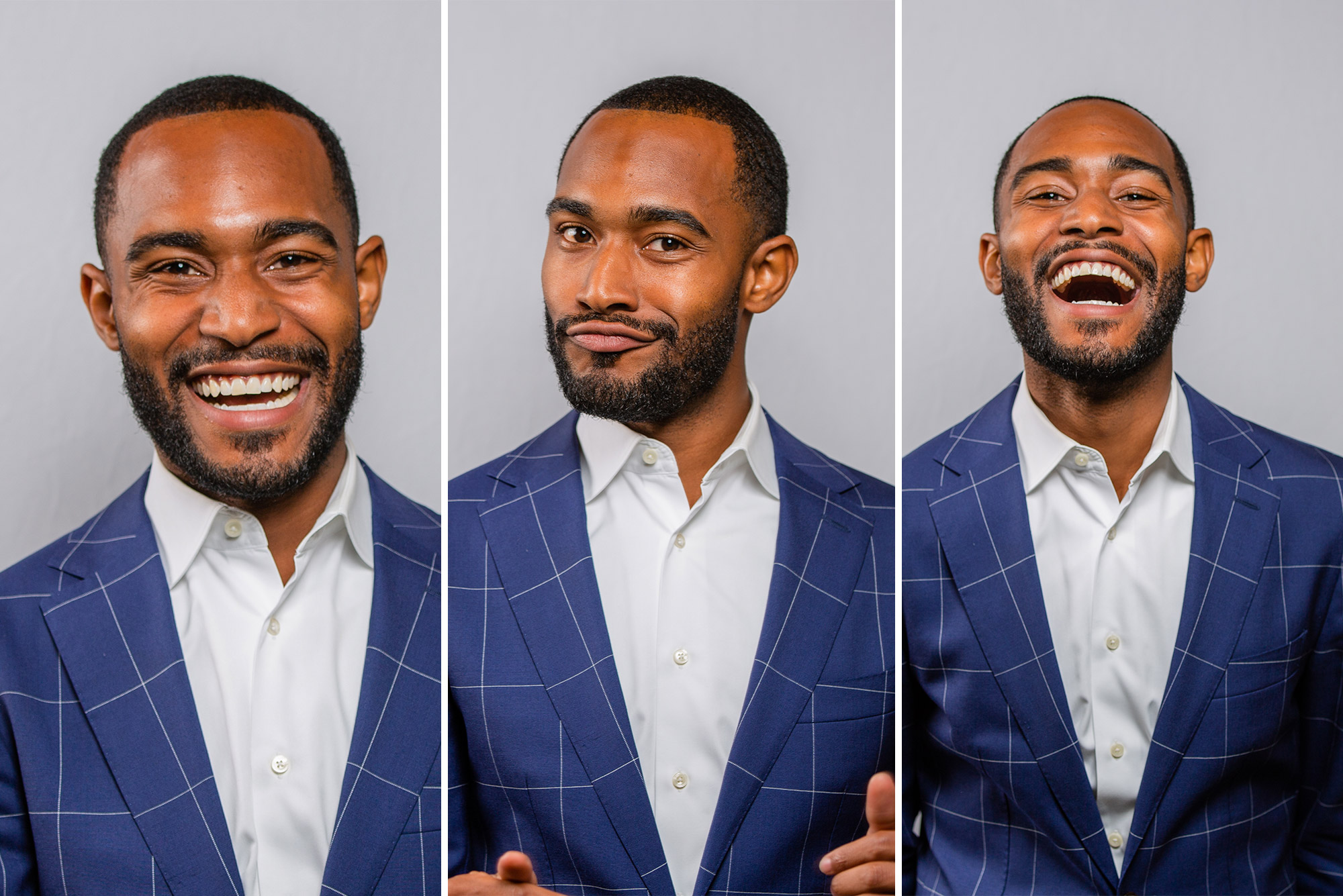 A triptych of photos of Johnathan Allen smiling and laughing