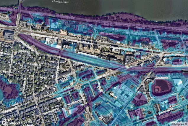 Screenshot taken of a map of the Charles River Campus. The colored sections of the map show portions of the Charles River Campus that could be flooded in 30 years, according to a new report that has grimmer predictions than federal flood models. Maps courtesy of First Street Foundation