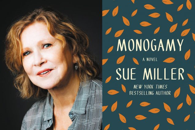 "Composite image: on the left, a portrait of Best-selling author and BU alum Sue Miller on a black background. She smiles slightly and wears a black and white stripped shirt. On the right, the book cover of ""Monogamy, a novel by Sue Miller, New York Times Best-Selling Author."" The cover is dark teal with orange leaves."