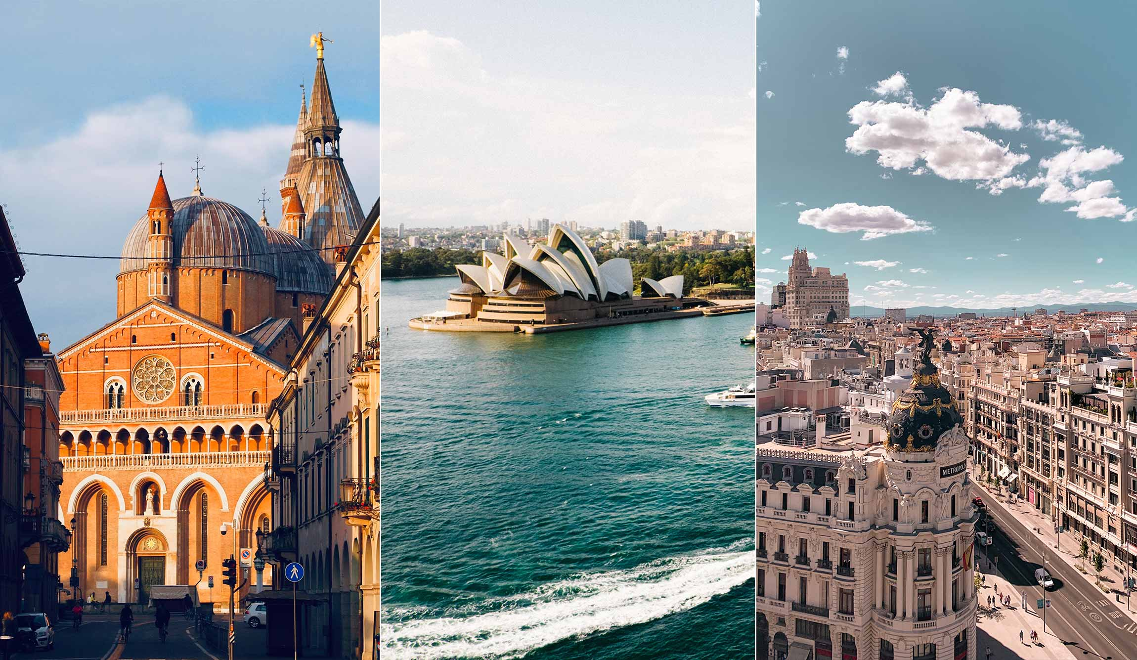 A photo of Padua, Sydney and Madrid