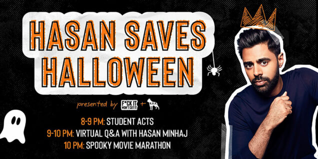 "A poster for the BU event ""Hasan Saves Halloween"" featuring comedian Hasan Minaj"