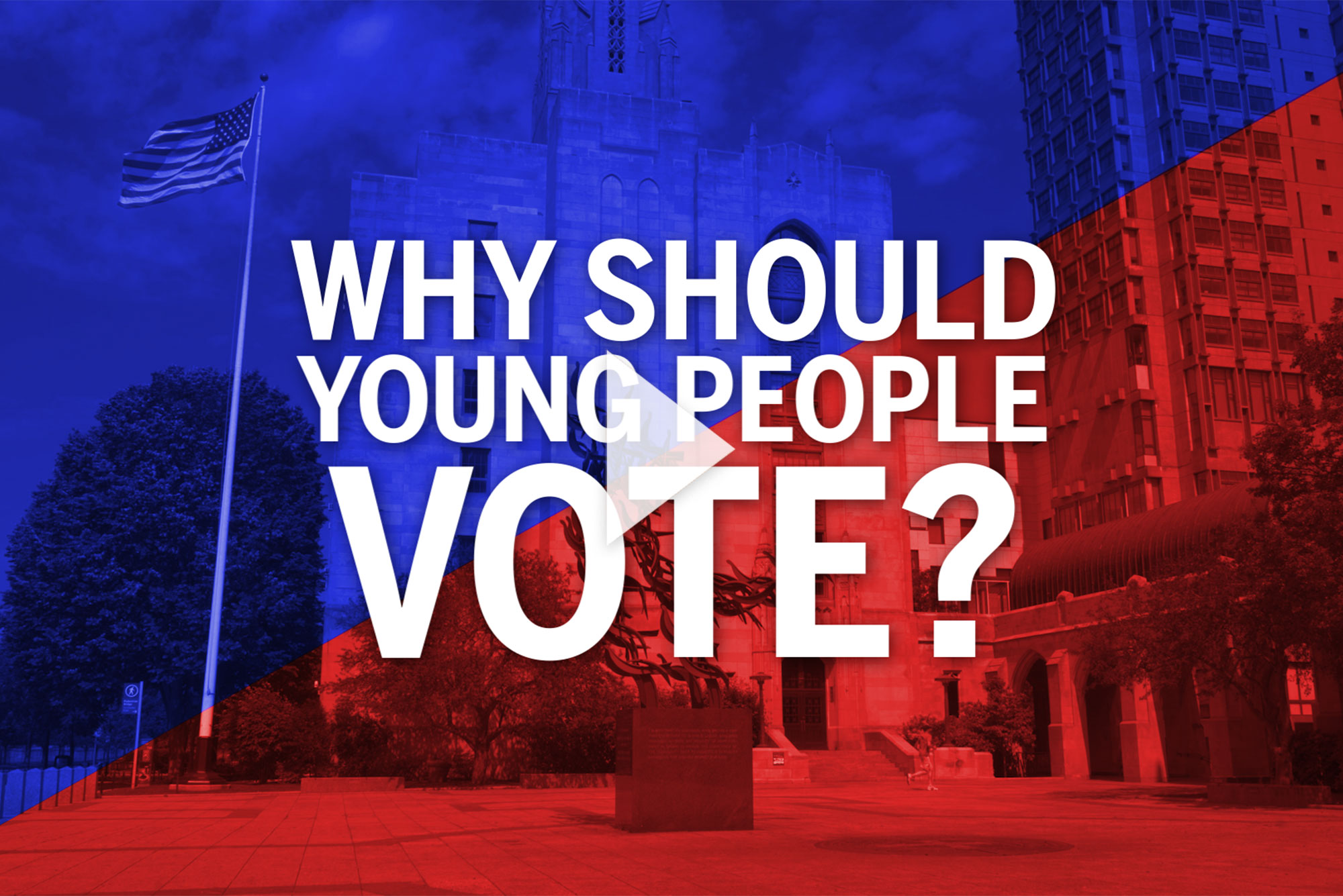 Red and blue image with embedded text that reads 'Why Should Young People Vote?'