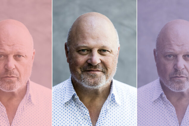 Composite image of three headshots of actor Michael Chiklis ('85), the center photo shows him smiling in a white button down with blue dots. The flanking photos show him more serious and have muted color overlays.