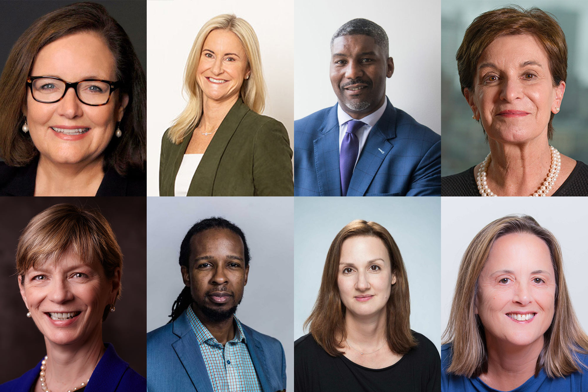 Headshots of Boston Business Journal 50 Leaders Making a Difference with ties to BU. Composite image shows formal headshots in the following order: Kate Walsh, Lori Cashman, Paul Francisco, Jeanette Ives Erickson, Marylou Sudders, Ibram Kendi, Catherine Klapperich, Kate Barrand.