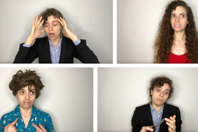 Composite image of photos from DeCotis' video which parodies Cuomo's press briefing. In the photos, DeCotis wears a suit and touches her head, wears a red shirt and looks stress, wears a Hawaiian shirt and mustache and points at herself, and pretends to cut herself with a knife in a suit jacket.