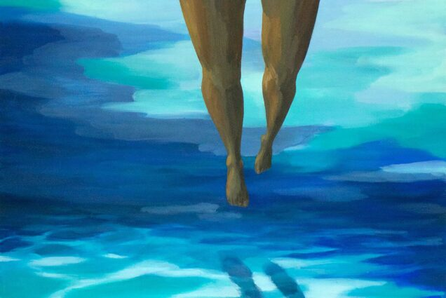 A painting of the legs of a woman underwater as she kicks along, her legs reflected on the sand. The water around her is in shades of dark and light blue. She wears white bottoms.