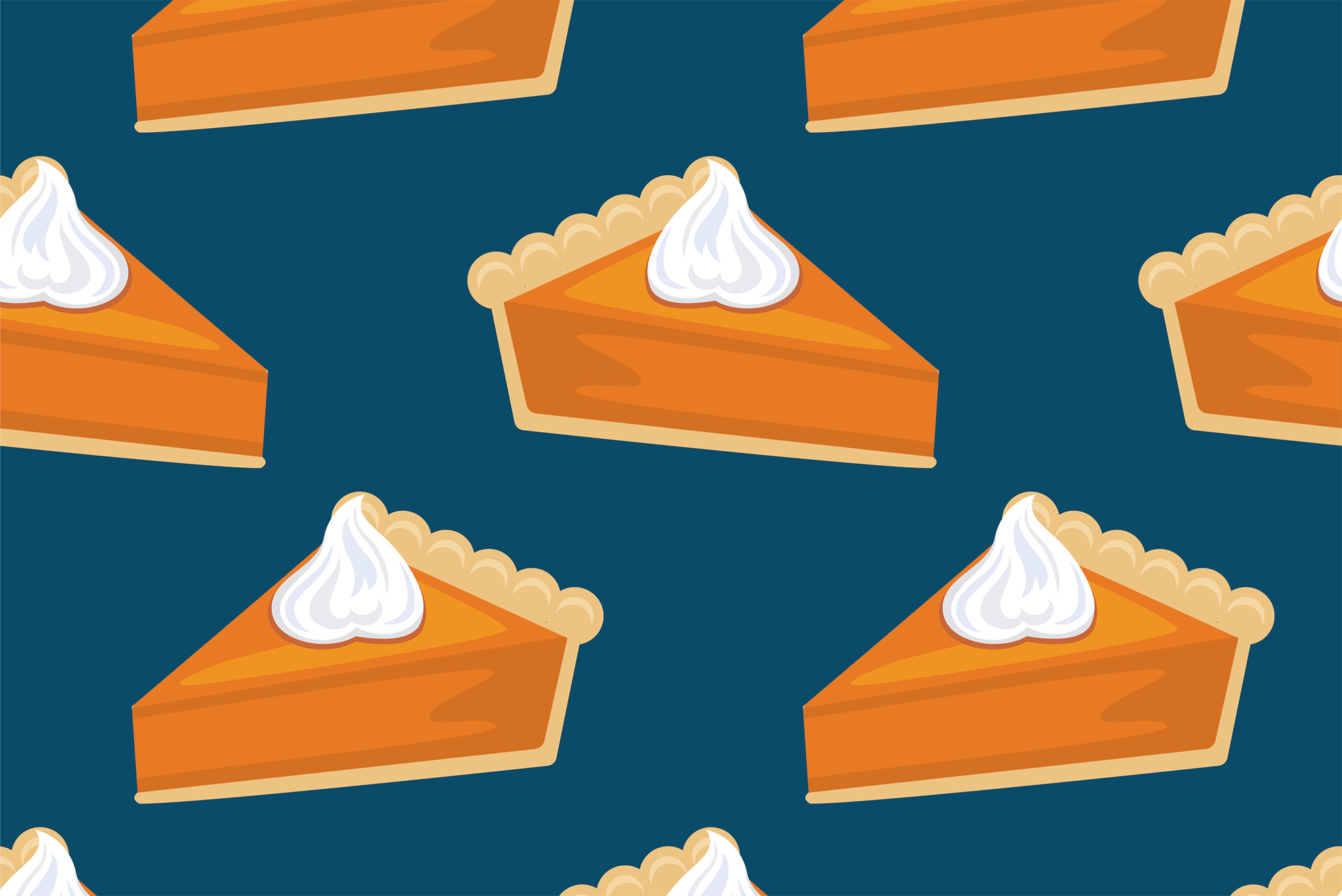Illustration of slices of pumpkin pie with whipped cream on a dark blue background.