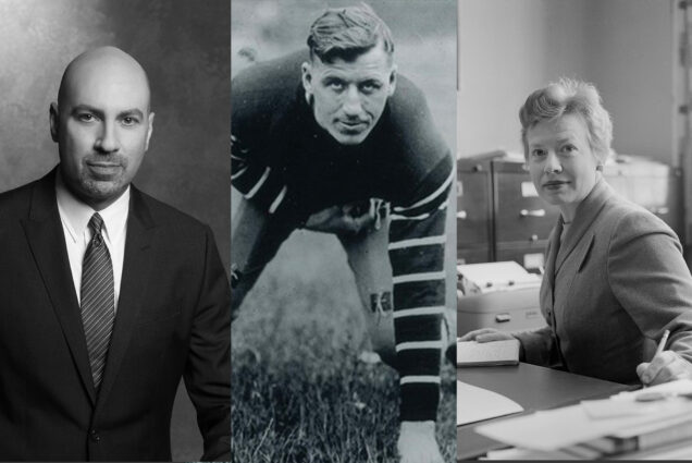 "Composite image of black and white photos of the following people: Gary M. Garfinkel (Questrom'84), who stands in a suit and tie, Harold ""Spike"" Carlson (Questrom'26), in an old-fashioned football uniform, Julia C. Pratt (CAS'48, Hon.'78) at a desk with file cabinets in the background."