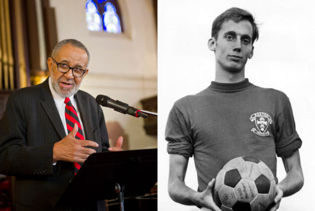 Composite image, at left, a photo of Rev. Gil Galdwell (GRS'55, Hon.'59) speaking at a podium in what looks like a church, and a black and white photo of Robert Trump (DGE'68, CAS'72) holding a soccer ball as a young man at BU.
