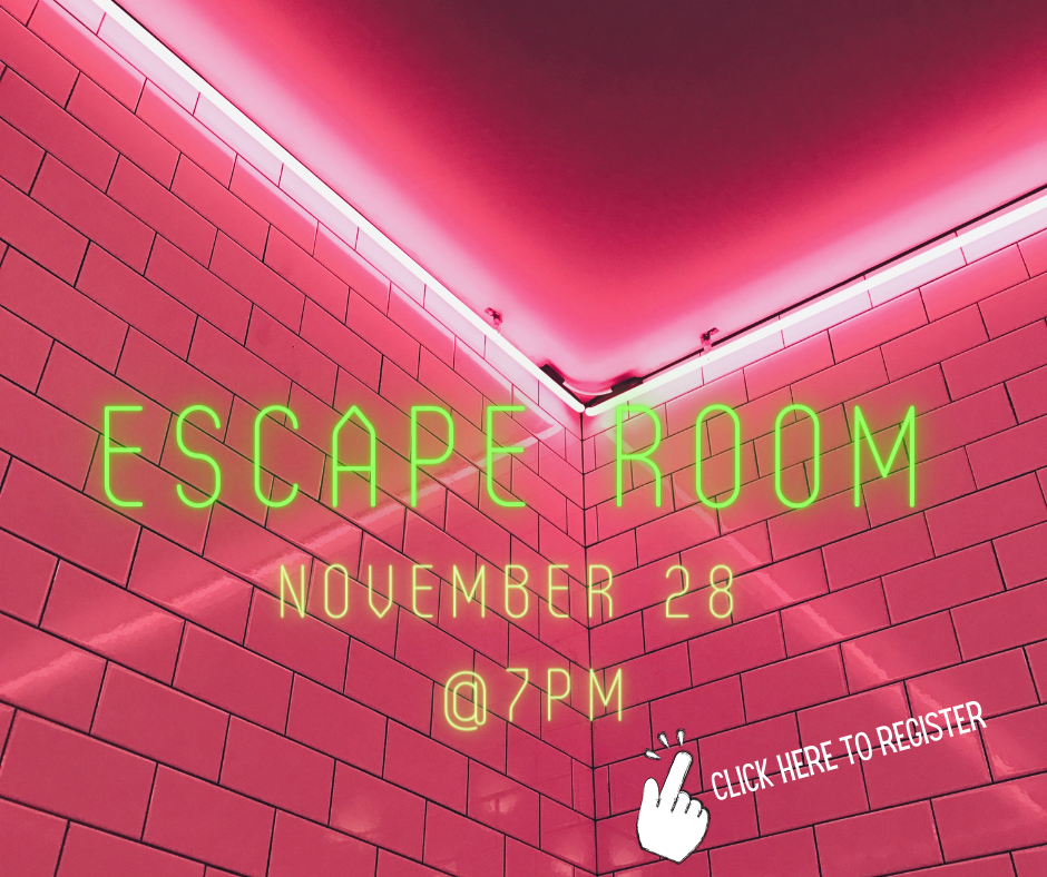 "Photo of a tiled corner of a room lit up in red. Overlay written in neon writing reads ""Escape Room, November 28, at 7pm"""