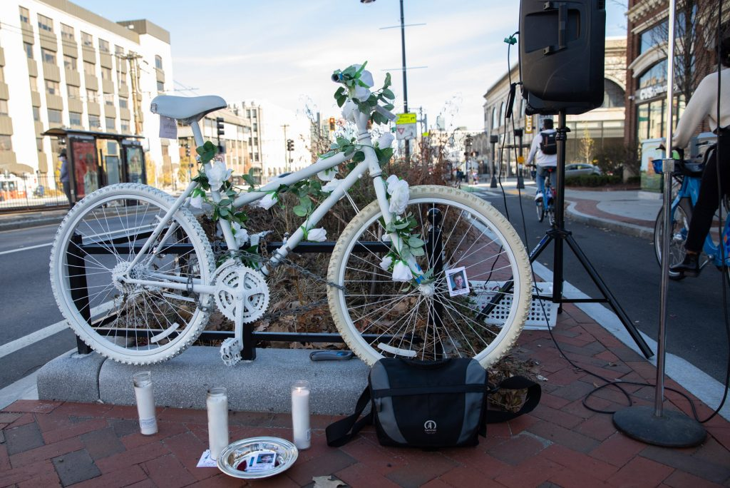 The Massachusetts Bicycle Coalition hosted a memorial ghost bike installation ceremony Saturday, November 21, 2020 on the corner of Commonwealth Avenue and St. Paul Street in Boston in honor of Christopher Weigl (COM'14) who was killed by a truck driver on December 6, 2012.