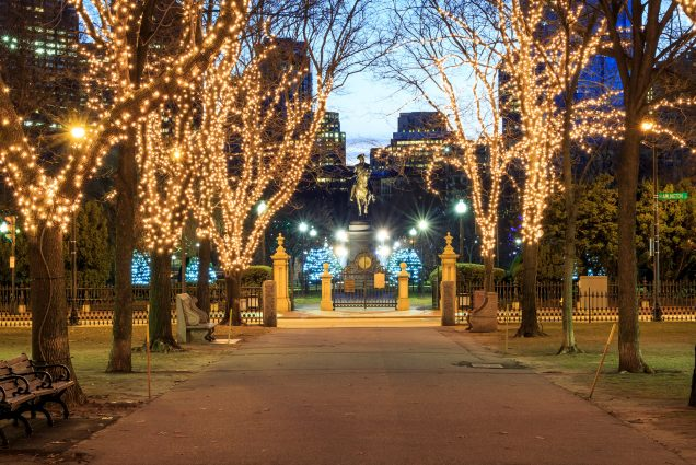 A photo of Boston Public Garden decked out with holiday lights
