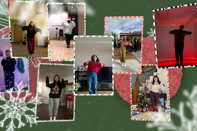 Photos of different members of BU's UPro dance group dancing in festive outfits from their respective locations. Each photo has a festive frame and looks like a holiday card; they are set on a green background with snowflakes.