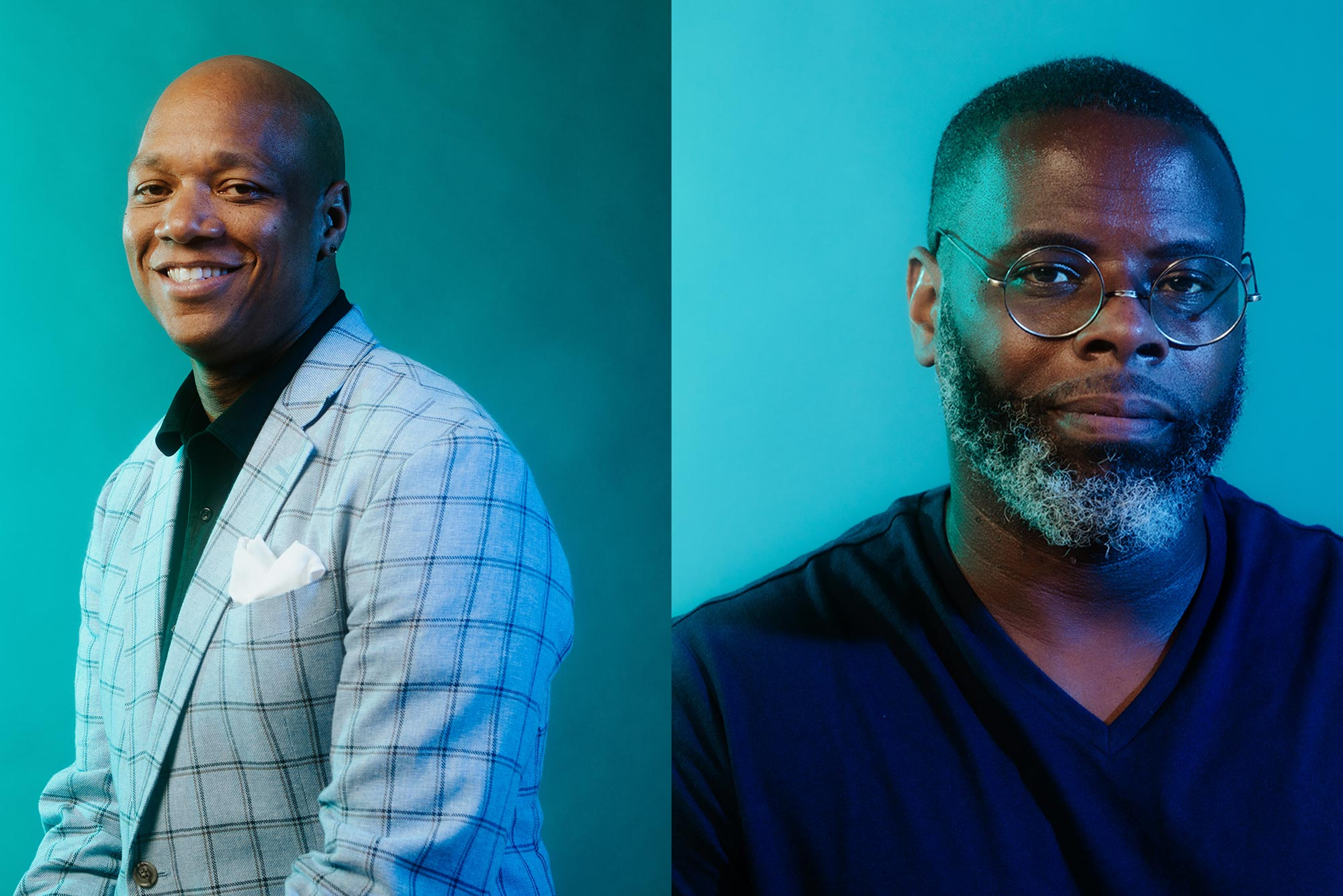 Composite image of two portraits of artists and researchers Joel Christian Gill ('04) (left) and Charles Suggs ('20). Gill wears a light striped suit jacket and smiles in front of a bright blue background. Suggs wears a black V-neck shirt and glasses and smiles slightly on a light blue background.