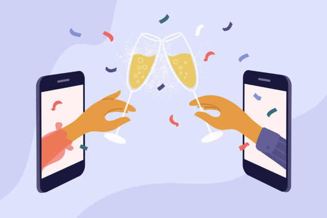 Illustration of two cellphones with hands coming out of them. The hands hold a champagne a glass and make a toast. Confetti flies around the glasses; the background is color light purple.