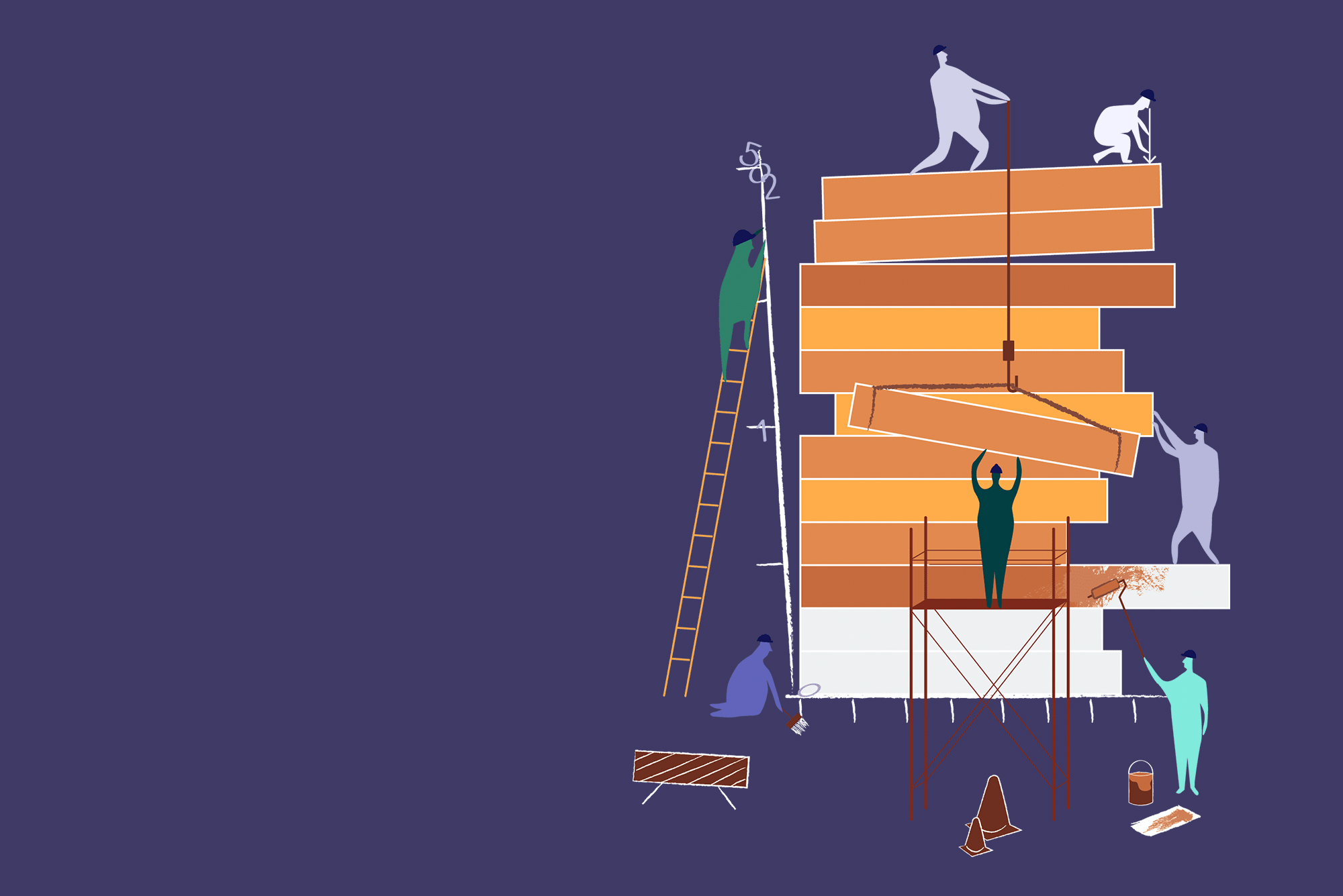 Illustration of figures stacking gray and brown beams on top of each other using ladders, pulleys, scaffolding, and team work. Background is dark purple.