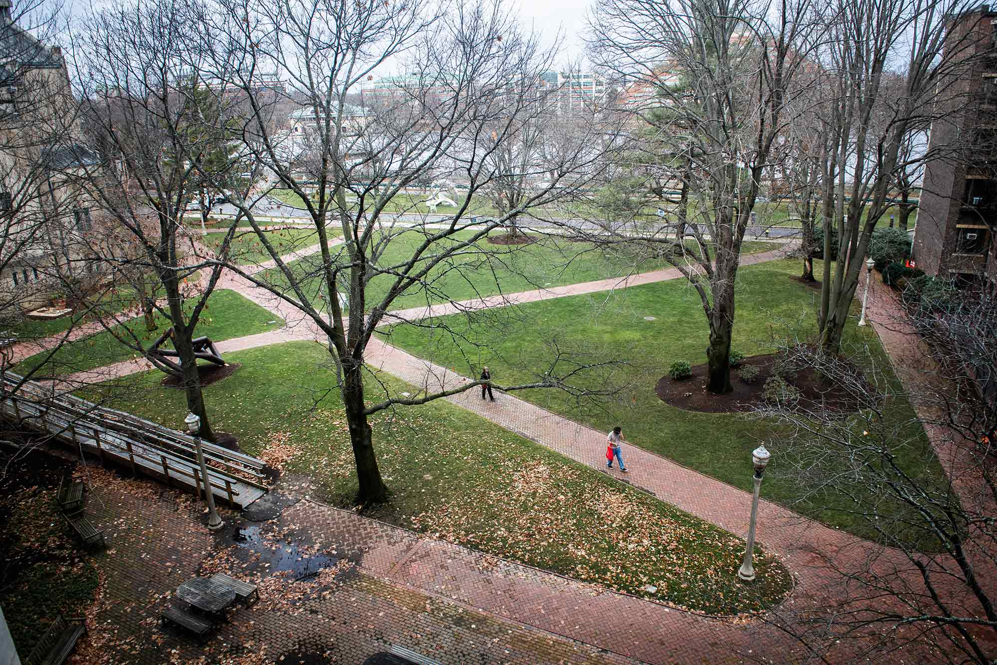 Photo of brick paths criss-crossing at BU Beach, a few people walk down the path. The trees are bare and are without leaves.