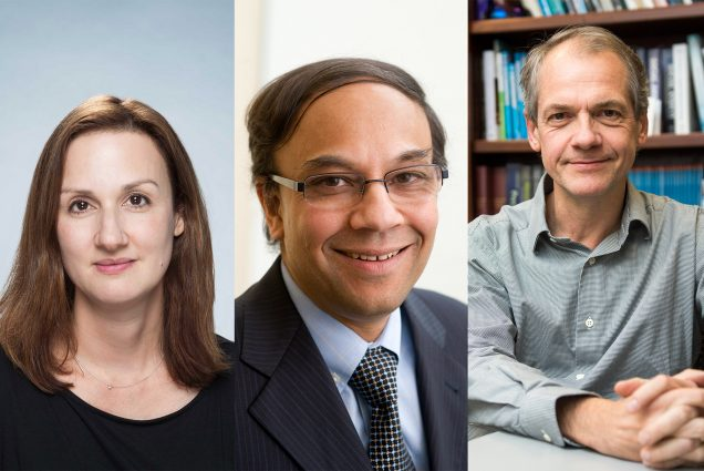 A composite of headshots (from left to right) of Catherine Klapperich, Uday Pal, and Stefan Hofmann