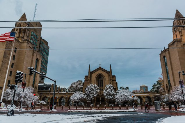A photo of Marsh Plaza blanketed by a light snow