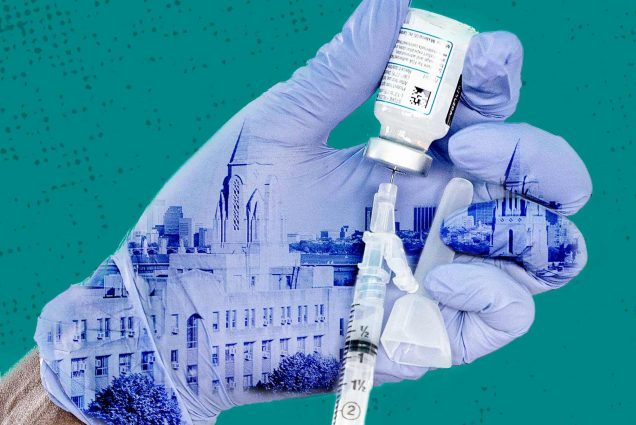 Hands wearing latex gloves load a syringe with Moderna COVID-19 vaccine. One of the gloves has a photo of Boston University Charles River Campus superimposed on it.